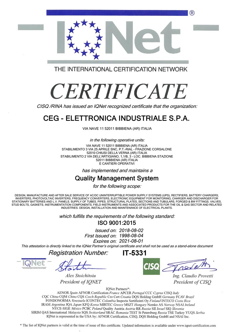 ISO9001 IQNET IT 5331 Ex