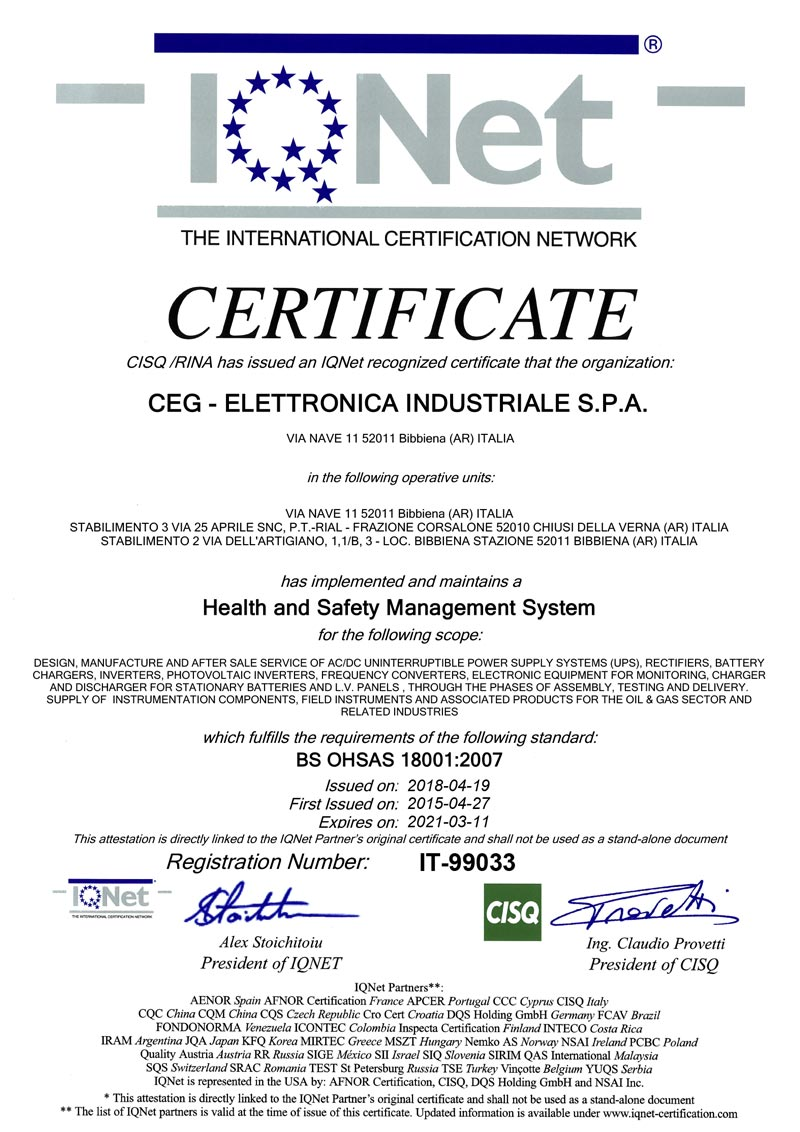 OHSAS 18001 OHS Iqnet IT 99033